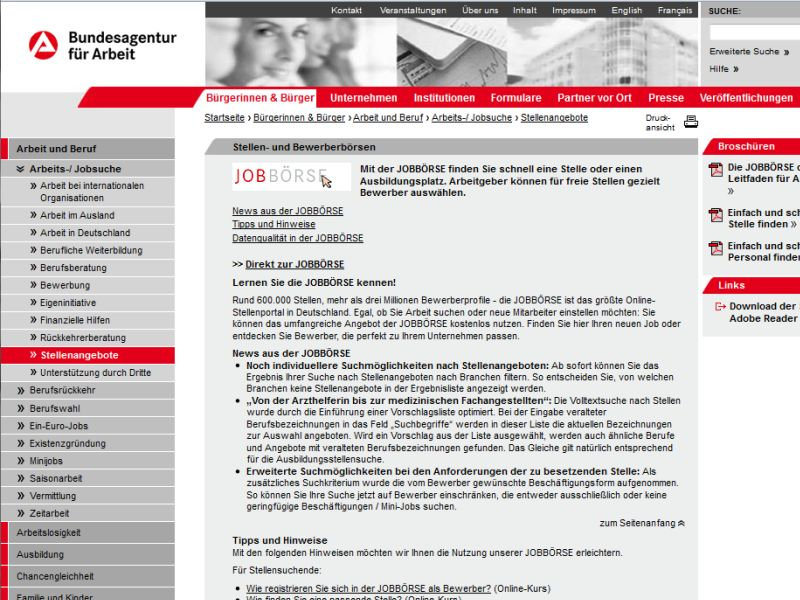 screenshot jobbrse - Arbeitsamt Bewerbung